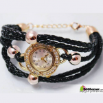 Ladies Black Bracelet Watch with ball