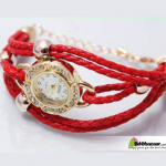 Ladies Red Bracelet Watch with ball