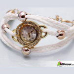 Ladies White Bracelet Watch with ball