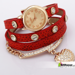 Crystal Heart Women's bracelet Watch RED