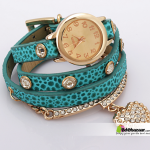 Crystal Heart Women's bracelet Watch blue