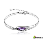 Fashion Silver Bracelets purple stone