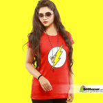 Flash Red Color Ladies T-shirt