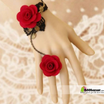 Red Rose shape women's Bracelet Ring